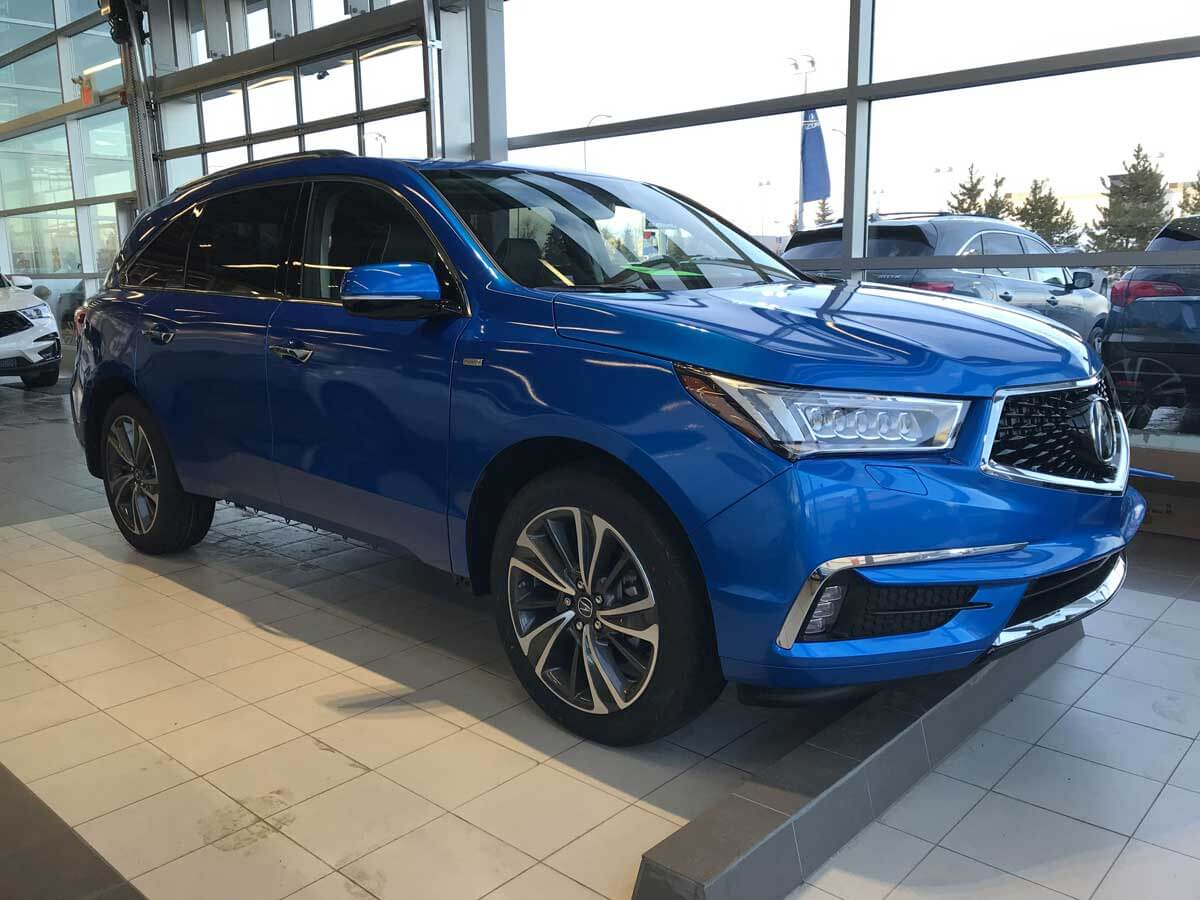 Full blue wrap on Acura MDX